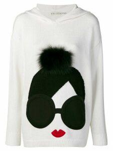 Alice+Olivia pompom detail hooded sweater - White