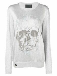 Philipp Plein metallic skull jumper - Silver
