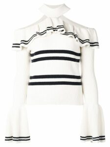 Self-Portrait halter neck jumper - White