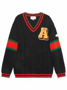 Gucci Cable knit sweater with patches - Black