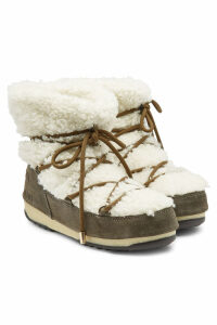 Yves Salomon X Moon Boot Suede Short Boots with Shearling