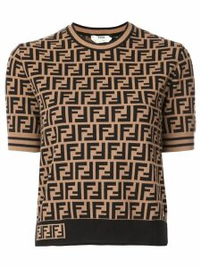 Fendi FF short sleeve sweater - Brown