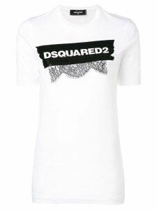 Dsquared2 lace appliqué logo T-shirt - White