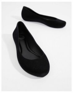 Zaxy Pop Flock Ballerinas-Black