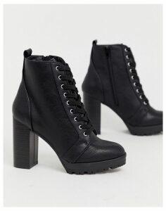 London Rebel Lace Up Platform Boots-Black