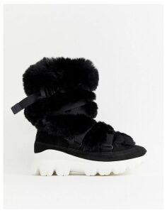 Ugg Fluffy Short Chunky Sole Boots in Black