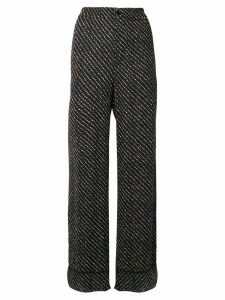 Ganni floral print straight trousers - Black