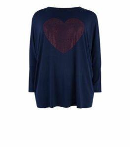 Blue Vanilla Curves Navy Gem Heart Top New Look