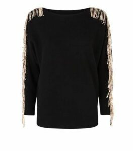 Blue Vanilla Black Sequin Tassel Sleeve Jumper New Look