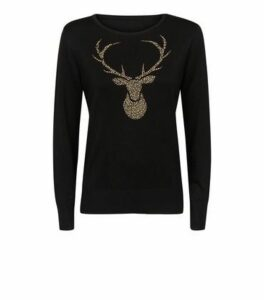 Mela Black Stag Christmas Jumper New Look