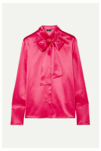 Akris - Pussy-bow Mulberry Silk-satin Blouse - Bright pink