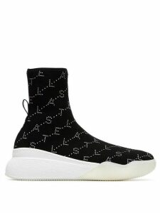 Stella McCartney loop logo embellished sock sneakers - Black