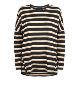 Brown Stripe Button Hem Brushed Top New Look