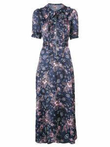 Jill Stuart frilled floral shirt dress - Blue