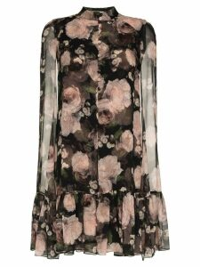 Erdem Constantine rose print silk dress - Black