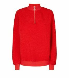 Red Borg Ring Zip Up Funnel Neck Sweatshirt New Look