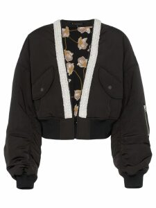Blindness collarless crop bomber jacket - Black
