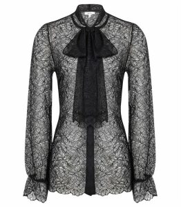 Reiss Oriel - Lace Neck Tie Blouse in Black, Womens, Size 16