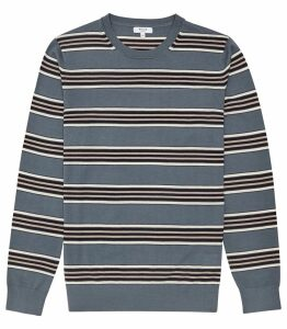 Reiss Samuels - Wool Striped Crew Neck Jumper in Airforce Blue, Mens, Size XXL