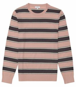 Reiss Samuels - Wool Striped Crew Neck Jumper in Pink, Mens, Size XXL