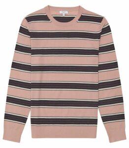 Reiss Samuels - Wool Striped Crew Neck Jumper in Pink, Mens, Size XXL