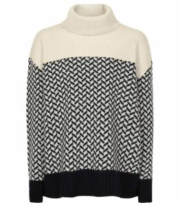 Reiss Azalea - Patterned Rollneck Jumper in Monochrome, Womens, Size XXL