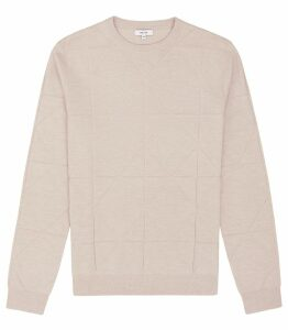 Reiss Wensley - Hexagon Jacquard Jumper in Stone, Mens, Size XXL