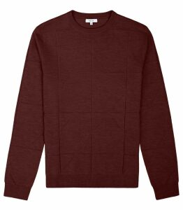 Reiss Wensley - Hexagon Jacquard Jumper in Bordeaux, Mens, Size XXL