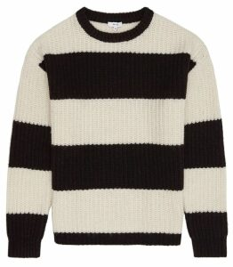 Reiss Rocky - Block  Stripe Jumper in Black/white, Mens, Size XXL