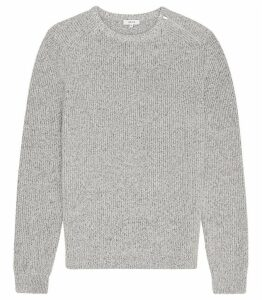 Reiss Morgan - Ribbed Crew Neck Jumper in Light Grey, Mens, Size XXL