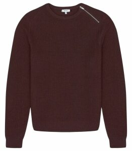 Reiss Morgan - Ribbed Crew Neck Jumper in Bordeaux, Mens, Size XXL