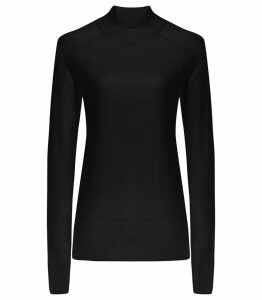Reiss Gemma - Wool Cross Neck Jumper in Black, Womens, Size XXL