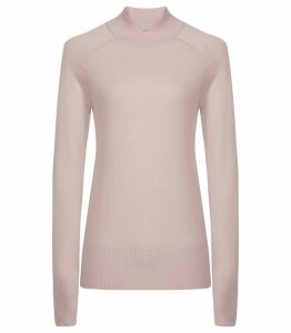 Reiss Gemma - Wool Cross Neck Jumper in Soft Pink, Womens, Size XXL