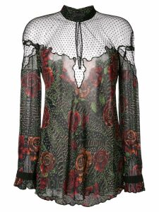Just Cavalli sheer floral print blouse - Black