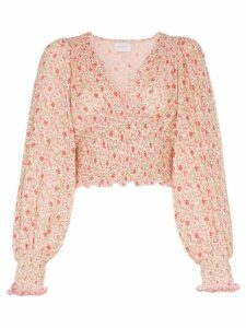 She Made Me Lia Floral Printed Blouse - PINK