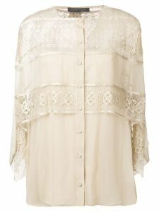 Alberta Ferretti layered lace blouse - Brown