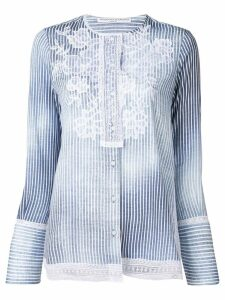Ermanno Scervino embroidered striped shirt - Blue