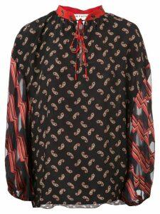 Alice+Olivia Asha multi-print blouse - Black