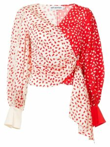 Self-Portrait printed wrap top - Red
