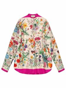 Gucci Oversize shirt with Flora print - NEUTRALS