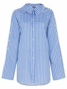 Blindness button detail stripe cotton shirt - Blue