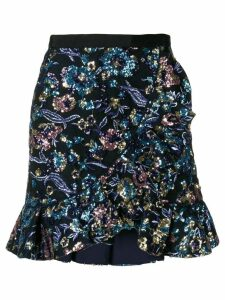 Self-Portrait sequin embellished skirt - Blue