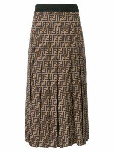 Fendi FF motif flared pleated skirt - NEUTRALS