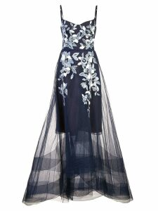 Marchesa Notte long flared dress - Blue
