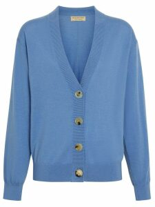 Burberry logo detail merino wool cardigan - Blue