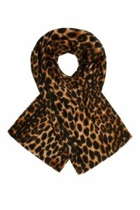 Quiz Leopard Print Stripe Knit Scarf