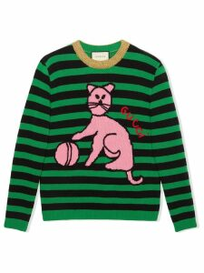 Gucci Sweater with cat and baseball - Green