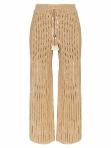She Made Me Sita crochet cropped trousers - Brown