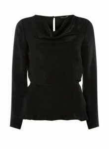 Womens **Black Cowl Neck Top, Black