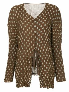 Issey Miyake Pre-Owned polka dot tie top - Brown